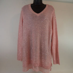 Faded Glory Pink Sequined Sweater 2X CL1553 0819